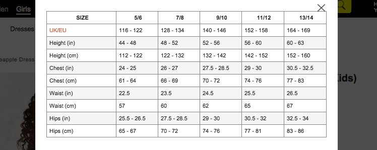 Size chart for Forever 21